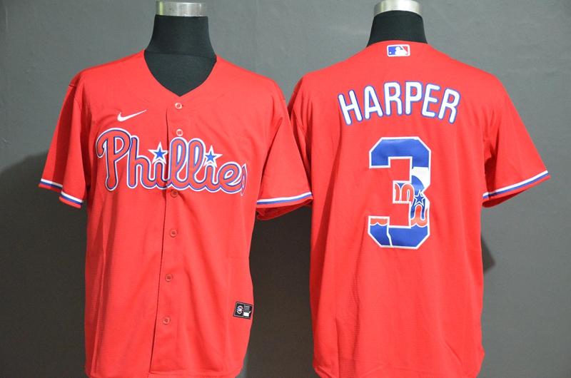 Men's Philadelphia Phillies #3 Bryce Harper Red White Team Logo Stitched MLB Cool Base Nike Jersey