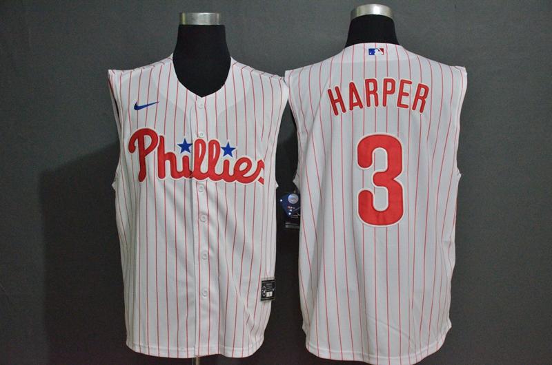 Men's Philadelphia Phillies #3 Bryce Harper White Pinstripe 2020 Cool and Refreshing Sleeveless Fan Stitched MLB Nike Jersey