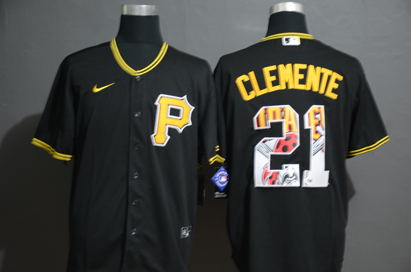 Men's Pittsburgh Pirates #21 Roberto Clemente Black Team Logo Stitched MLB Cool Base Nike Jersey