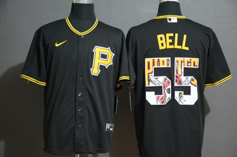 Men's Pittsburgh Pirates #55 Josh Bell Black Team Logo Stitched MLB Cool Base Nike Jersey