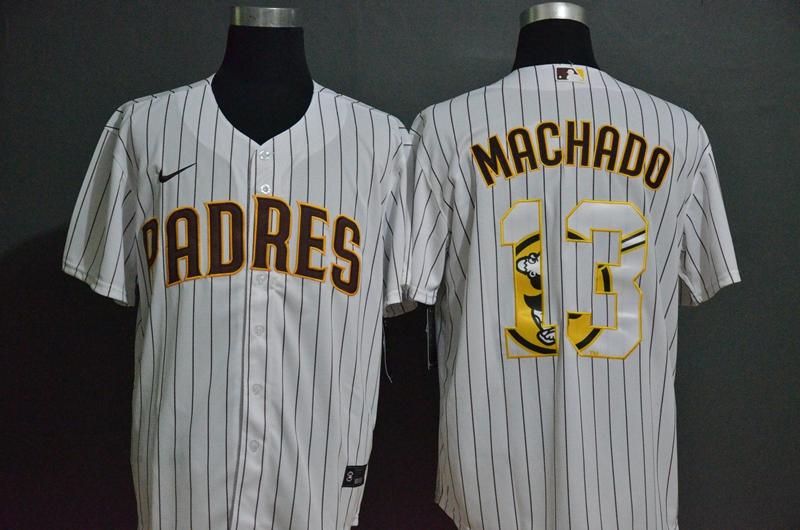 Men's San Diego Padres #13 Manny Machado White Team Logo Stitched MLB Cool Base Nike Jersey