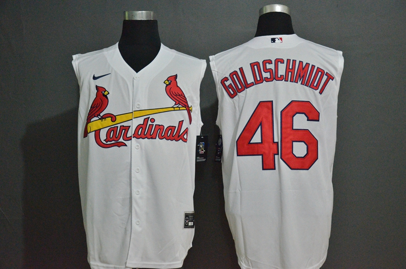 Men's St. Louis Cardinals #46 Paul Goldschmidt White 2020 Cool and Refreshing Sleeveless Fan Stitched MLB Nike Jersey