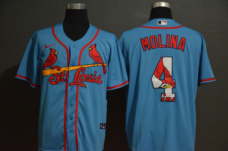 Men's St. Louis Cardinals #4 Yadier Molina Light Blue Team Logo Stitched MLB Cool Base Nike Jersey