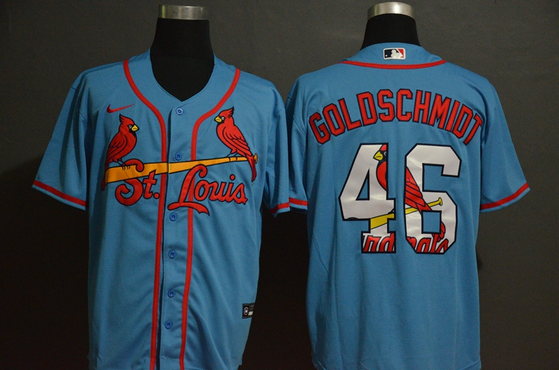 Men's St. Louis Cardinals #46 Paul Goldschmidt Light Blue White Team Logo Stitched MLB Cool Base Nike Jersey