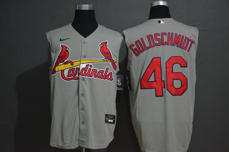 Men's St. Louis Cardinals #46 Paul Goldschmidt Grey 2020 Cool and Refreshing Sleeveless Fan Stitched MLB Nike Jersey