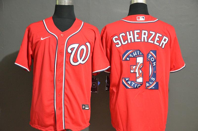 Men's Washington Nationals #31 Max Scherzer Red Team Logo Stitched MLB Cool Base Nike Jersey
