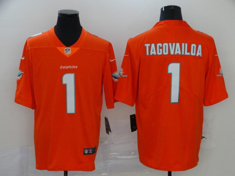 Men's Miami Dolphins #1 Tua Tagovailoa Orange 2020 Vapor Untouchable Stitched NFL Nike Limited Jersey