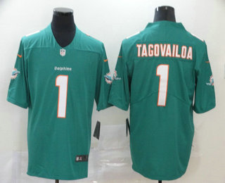Men's Miami Dolphins #1 Tua Tagovailoa Green 2020 Vapor Untouchable Stitched NFL Nike Limited Jersey