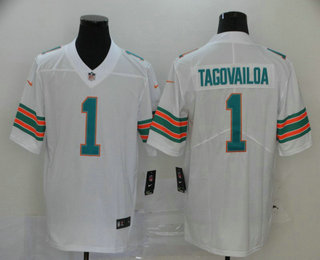 Men's Miami Dolphins #1 Tua Tagovailoa White 2020 Color Rush Stitched NFL Nike Limited Jersey