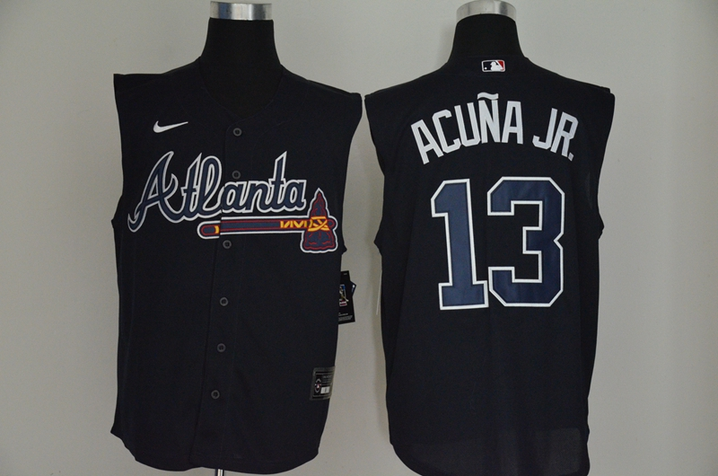 Men's Atlanta Braves #13 Ronald Acuna Jr. Navy Blue 2020 Cool and Refreshing Sleeveless Fan Stitched MLB Nike Jersey