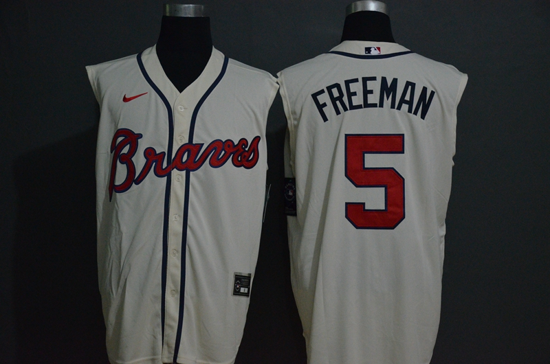 Men's Atlanta Braves #5 Freddie Freeman Cream 2020 Cool and Refreshing Sleeveless Fan Stitched MLB Nike Jersey