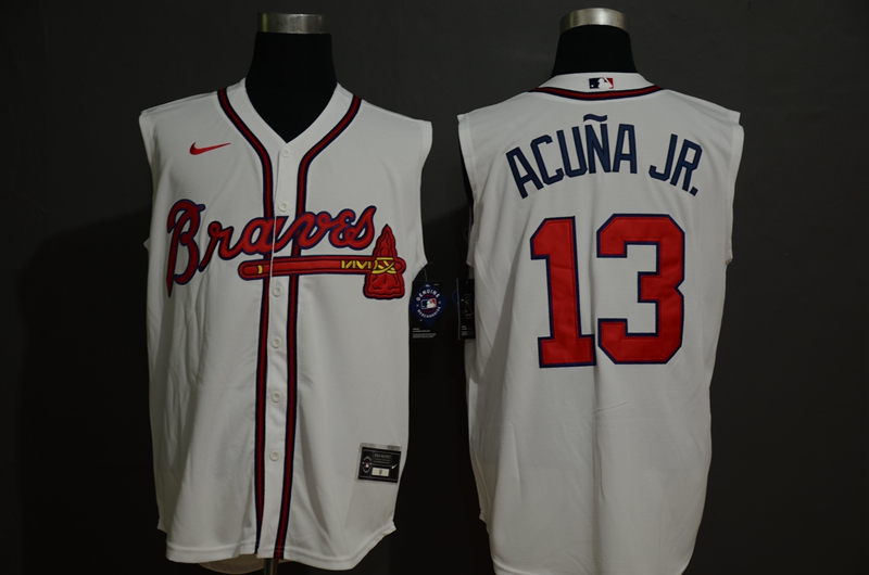 Men's Atlanta Braves #13 Ronald Acuna Jr. Cream 2020 Cool and Refreshing Sleeveless Fan Stitched MLB Nike Jersey