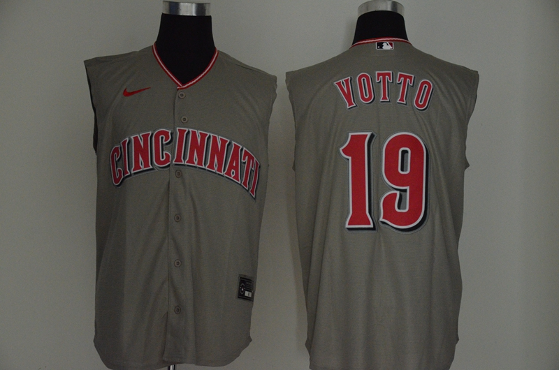 Men's Cincinnati Reds #19 Joey Votto Gray 2020 Cool and Refreshing Sleeveless Fan Stitched MLB Nike Jersey