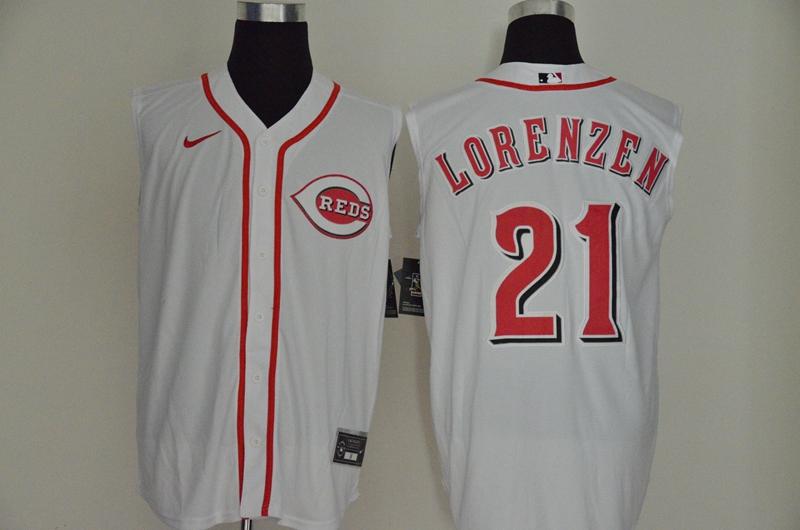 Men's Cincinnati Reds #21 Michael Lorenzen White 2020 Cool and Refreshing Sleeveless Fan Stitched MLB Nike Jersey