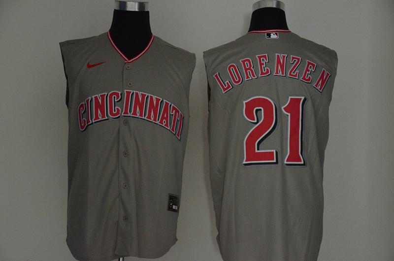 Men's Cincinnati Reds #21 Michael Lorenzen Gray 2020 Cool and Refreshing Sleeveless Fan Stitched MLB Nike Jersey