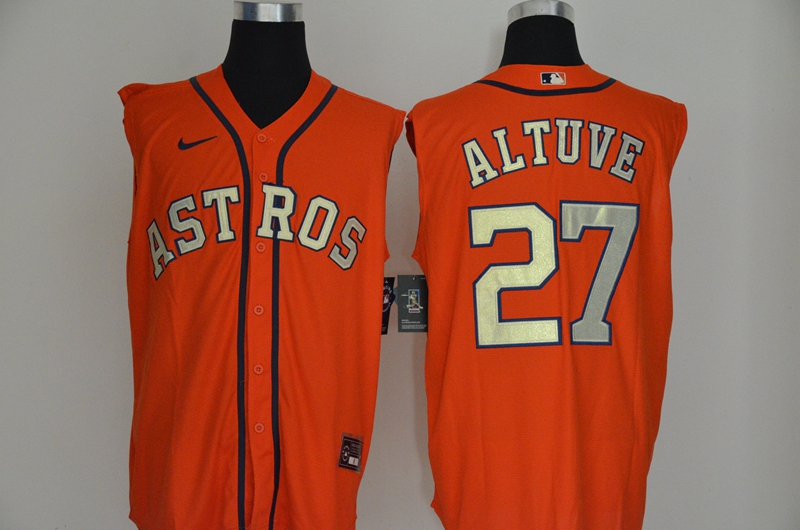 Men's Houston Astros #27 Jose Altuve Orange Gold 2020 Cool and Refreshing Sleeveless Fan Stitched MLB Nike Jersey