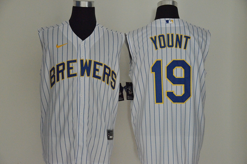 Men's Milwaukee Brewers #19 Robin Yount White 2020 Cool and Refreshing Sleeveless Fan Stitched MLB Nike Jersey