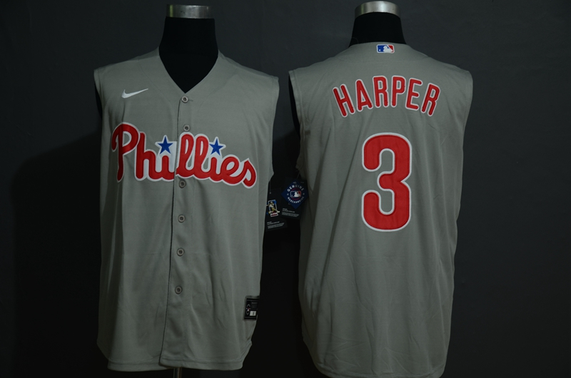 Men's Philadelphia Phillies #3 Bryce Harper Gray 2020 Cool and Refreshing Sleeveless Fan Stitched MLB Nike Jersey