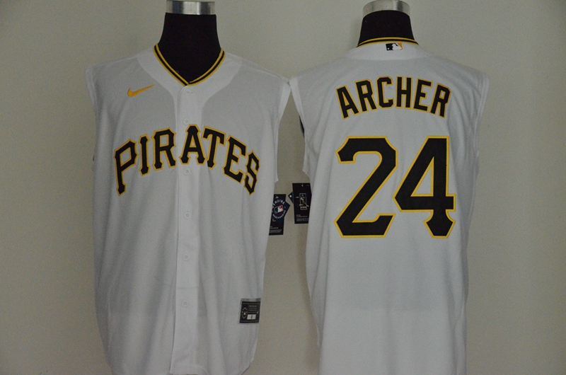Men's Pittsburgh Pirates #24 Chris Archer White 2020 Cool and Refreshing Sleeveless Fan Stitched MLB Nike Jersey