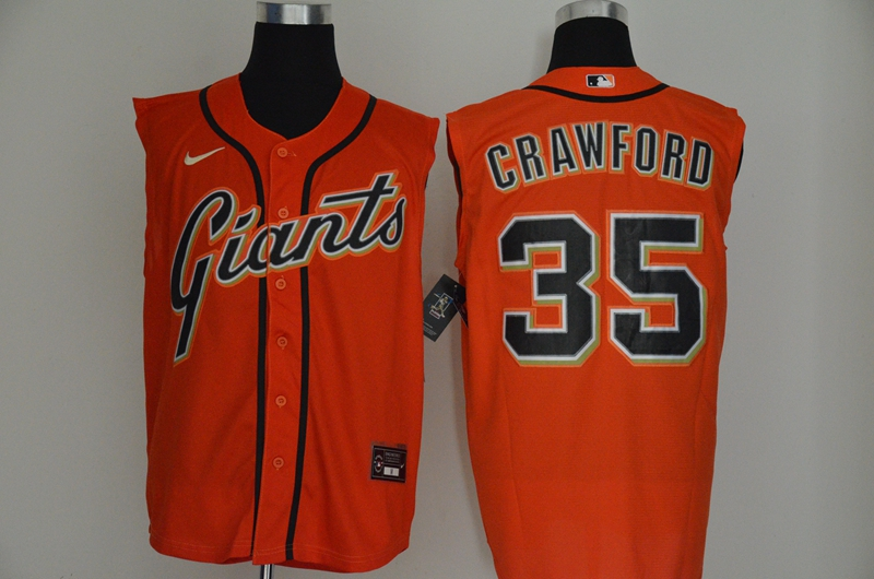Men's San Francisco Giants #35 Brandon Crawford Orange 2020 Cool and Refreshing Sleeveless Fan Stitched MLB Nike Jersey