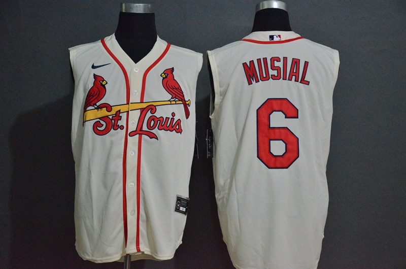 Men's St. Louis Cardinals #6 Stan Musial Cream 2020 Cool and Refreshing Sleeveless Fan Stitched MLB Nike Jersey
