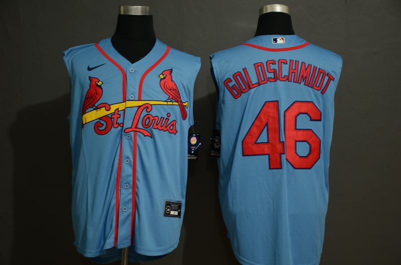 Men's St. Louis Cardinals #46 Paul Goldschmidt Light Blue 2020 Cool and Refreshing Sleeveless Fan Stitched MLB Nike Jersey