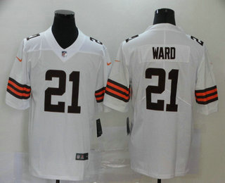 Men's Cleveland Browns #21 T.J. Ward White 2020 NEW Vapor Untouchable Stitched NFL Nike Limited Jersey