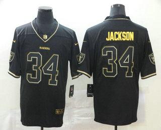 Men's Las Vegas Raiders #34 Bo Jackson Black 100th Season Golden Edition Jersey