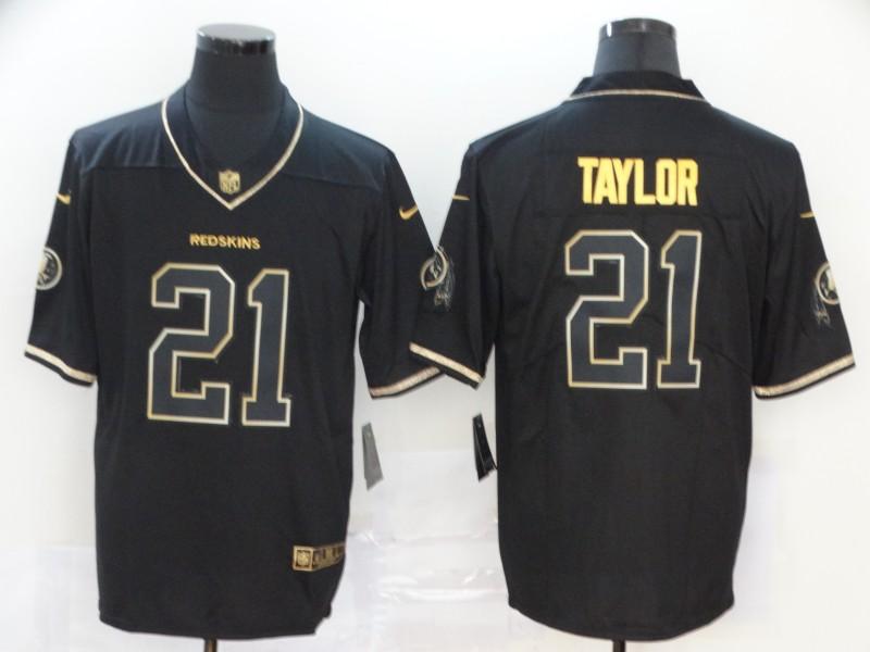 Men's Washington Redskins #21 Sean Taylor Black 100th Season Golden Edition Jersey