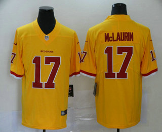 Men's Washington Redskins #17 Terry McLaurin Gold 2016 Color Rush Stitched NFL Nike Limited Jersey