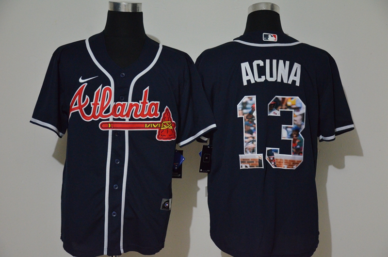 Men's Atlanta Braves #13 Ronald Acuna Jr. Navy Blue Unforgettable Moment Stitched Fashion MLB Cool Base Nike Jersey