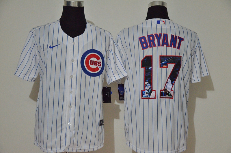 Men's Chicago Cubs #17 Kris Bryant White Unforgettable Moment Stitched Fashion MLB Cool Base Nike Jersey