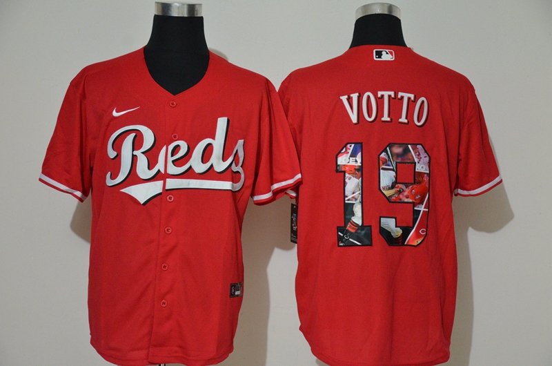 Men's Cincinnati Reds #19 Joey Votto Red Unforgettable Moment Stitched Fashion MLB Cool Base Nike Jersey