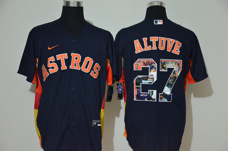 Men's Houston Astros #27 Jose Altuve Navy Blue Unforgettable Moment Stitched Fashion MLB Cool Base Nike Jersey