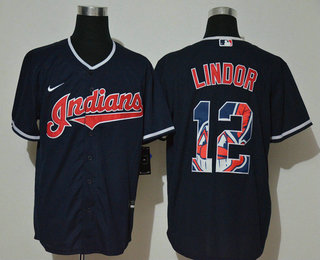 Men's Cleveland Indians #12 Francisco Lindor Navy Blue Team Logo Stitched MLB Cool Base Nike Jersey