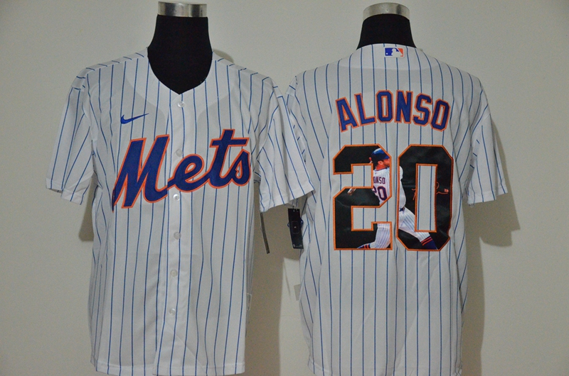 Men's New York Mets #20 Pete Alonso White Unforgettable Moment Stitched Fashion MLB Cool Base Nike Jersey