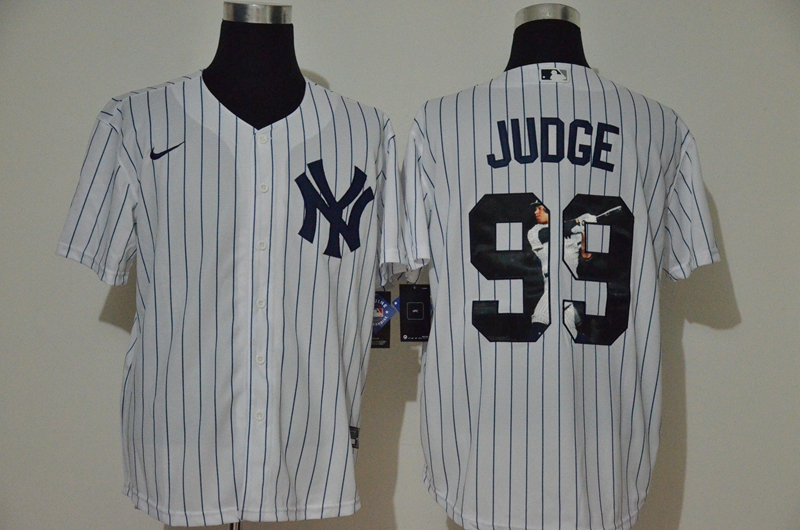 Men's New York Yankees #99 Aaron Judge White Unforgettable Moment Stitched Fashion MLB Cool Base Nike Jersey