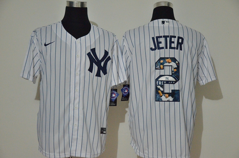 Men's New York Yankees #2 Derek Jeter White Unforgettable Moment Stitched Fashion MLB Cool Base Nike Jersey