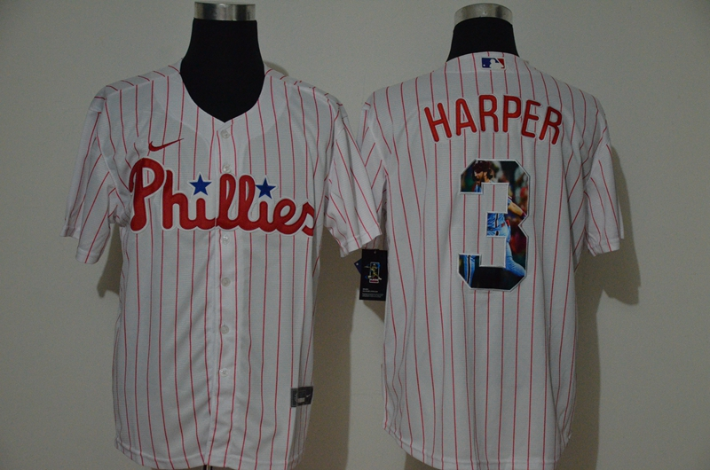 Men's Philadelphia Phillies #3 Bryce Harper White Unforgettable Moment Stitched Fashion MLB Cool Base Nike Jersey