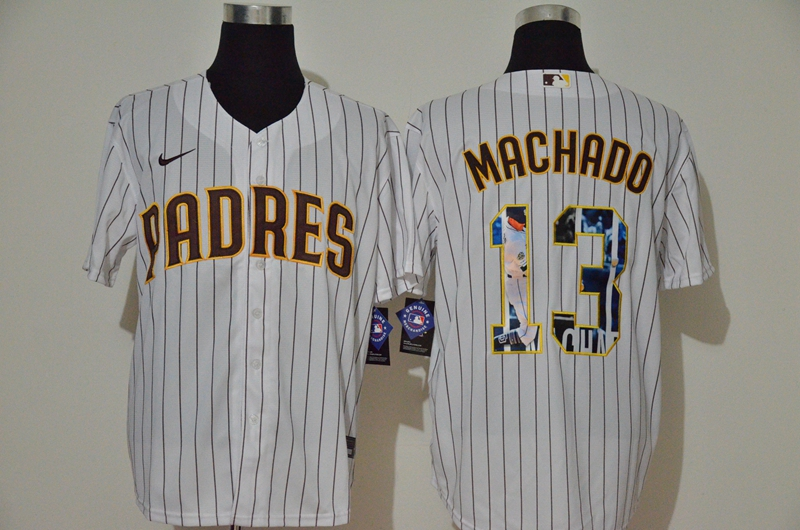 Men's San Diego Padres #13 Manny Machado White Unforgettable Moment Stitched Fashion MLB Cool Base Nike Jersey