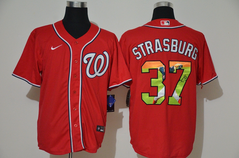 Men's Washington Nationals #37 Stephen Strasburg Red Unforgettable Moment Stitched Fashion MLB Cool Base Nike Jersey