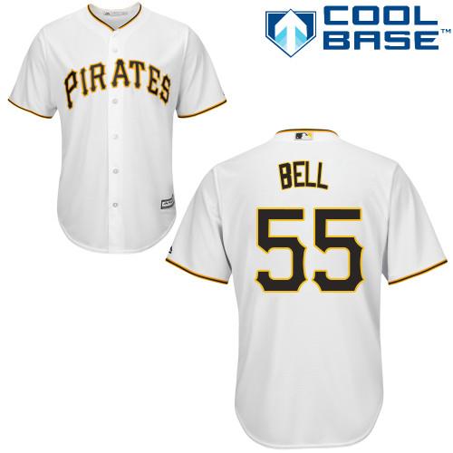 Men's Pittsburgh Pirates #55 Josh Bell White Cool Base Stitched Baseball Jersey