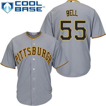 Men's Pittsburgh Pirates #55 Josh Bell Grey Cool Base Stitched Baseball Jersey