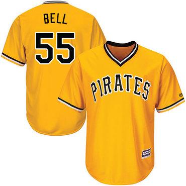 Men's Pittsburgh Pirates #55 Josh Bell Gold Cool Base Stitched Baseball Jersey