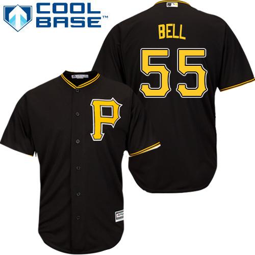 Men's Pittsburgh Pirates #55 Josh Bell Black Cool Base Stitched Baseball Jersey