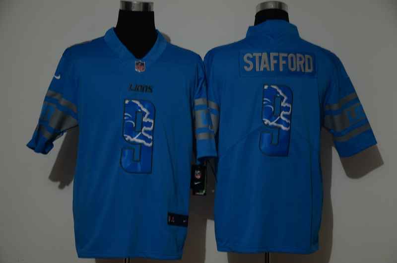Men's Detroit Lions #9 Matthew Stafford Light Blue With Number Team Logo 2020 Vapor Untouchable Stitched NFL Nike Limited Jersey