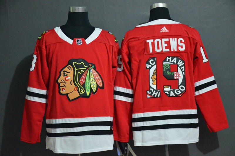Men's Chicago Blackhawks #19 Jonathan Toews NEW Red Fashion Adidas Stitched NHL Jersey
