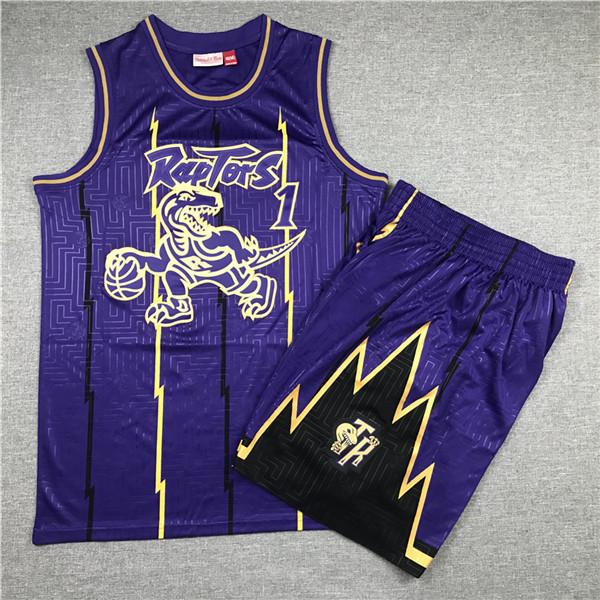 Raptors 1 Tracy McGrady Purple 1998-99 Hardwood Classics Jersey(With Shorts)