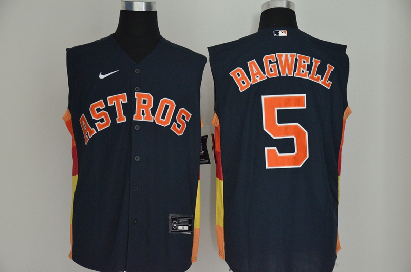 Men's Houston Astros #5 Jeff Bagwell Navy Blue 2020 Cool and Refreshing Sleeveless Fan Stitched MLB Nike Jersey