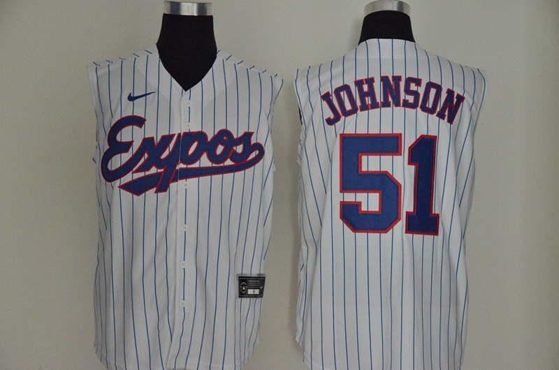 Men's Montreal Expos #51 Randy Johnson White Cooperstown Collection 2020 Cool and Refreshing Sleeveless Fan Stitched MLB Nike Jersey